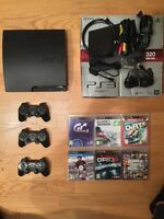 PS3 Slim 320GB + 6 Games + 3 Controllers