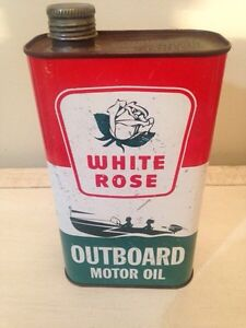 White rose outboard motor oil tin can imperial gas pump sign