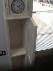 Shabby chic grandmother clock /storage unit for sale