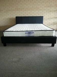 Double Innersprung Mattress & PU Bed Frame Black Or White Bayswater Bayswater Area Preview