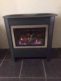 Gazco steel manhattan log effect GAS fire inc rear flu