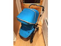 Silver Cross Wayfarer Pram & Pushchair (Sky Blue & Chrome)