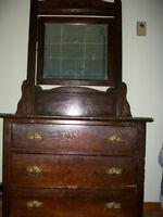 ANTIQUE DRESSER - Oak - Dark Stained - 1800's