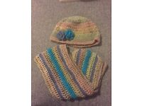 Handmade crochet hat and scarf