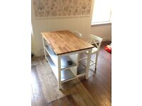 Solid Oak topped kitchen table + chairs