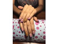 Acrylic nails extension, shellac, manicure, nails design
