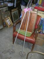 PAIR OF OLD WOOD HANDLED SKI POLES $20 COTTAGE CABIN DECOR !