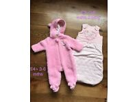 Baby girls pramsuit and sleep bag