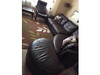 Ikea dark brown leather sofa
