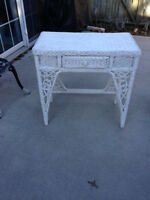 White Wicker  Vanity