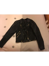 Nearly new ladies black faux leather jacket size 14