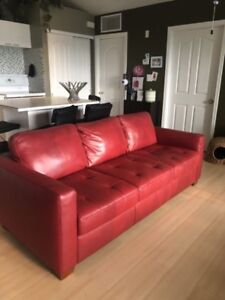 Natuzzi red leather couch