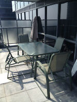 Patio Furniture  6 chairs, table, side table, 2 foot stools, umb
