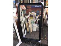 """huge black wooden swept framed mirror 66""""x42"""""""