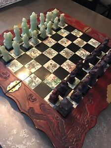 Soapstone Asian themed chess set