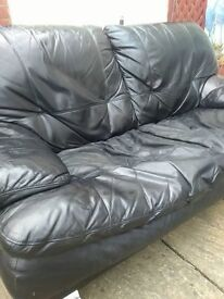 Free to collector 2 seater real leather sofa
