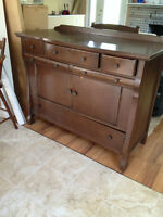 Antique sideboard/server with beveled mirror
