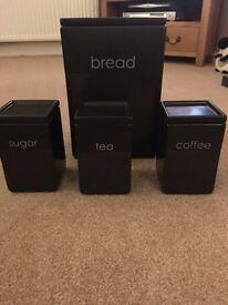 Bread bin, tea, coffee and sugar canisters £10