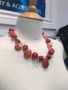 Bomboo coral /agate/crystal necklace