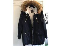 Ladies /women Navy Parka Coat Size 10