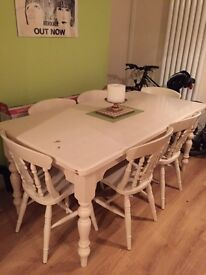 Large farmhouse dining table and 6 chairs. £200 ONO.