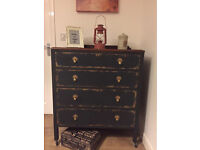 Unique vintage fully refurbished chest of drawers in chalk graphite and gold effect could