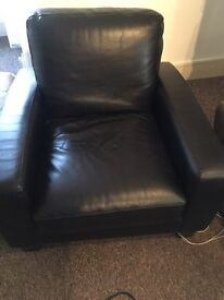 Single black leather sofa/chair