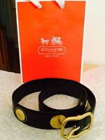 Authentic Coach Gold Hardware Black Leather Belt - Size Small