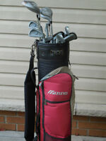 Ladies right handed golf clubs + mizuno bag + pull cart