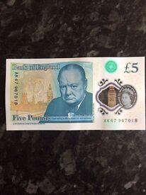AK47 967018 £5 note