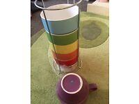 Stack of large mugs