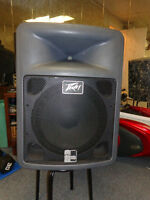 Two Peavey 15 inch speakers c/w heavy duty stands
