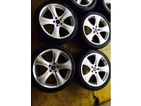 "18"" PROJECT KAHN ALLOY WHEELS FORD FOCUS MONDEO GALAXY JAGUAR VOLVO MAGANE 5 STUD SET OF 4"