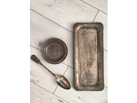 SILVER PLATED TEA TRAY, PLATE AND SERVING SPOON