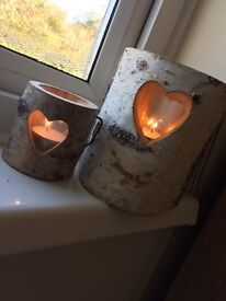 Wooden Heart Matching Candle Holders