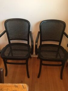 Pair of Like N2 like new wicker Arm Chairs for dinning -kitchen