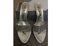 New unworn Womens Swarovski Silver evening heels / sandals UK size 4.5