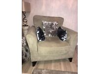 Valour beige VGC 2 seater settee and one single chair.
