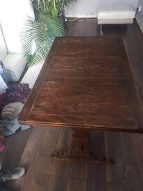 Extendible old charm solid oak dining table