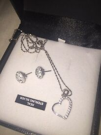 Real silver necklace and earrings