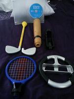 Jeu Wii Sports et ses accessoires en couleurs variées