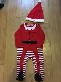 BABIES FATHER CHRISTMAS ALL-IN-ONE OUTFIT