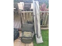 Carp fishing luggage and unhooking mat