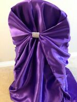 64 Purple satin chair covers for sale. $2.30 each