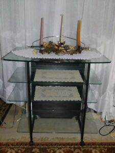 METAL FOUR-STORY GLASS SHELVES TV TABLE STAND / COMPUTER DESK