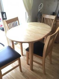 Pine table and 4 chairs SOLD