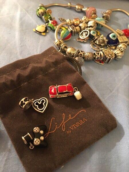 Silver amulet charm for bracelet