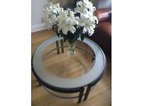 Contemporary design metal and glass coffee table