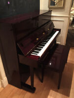 Yamaha T118 Upright Piano Polished Mahogany