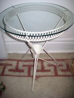 VINTAGE White Cast Iron Glass Side Table with Planter